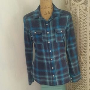 Blue Plaid Flannel Mossimo L Shirt